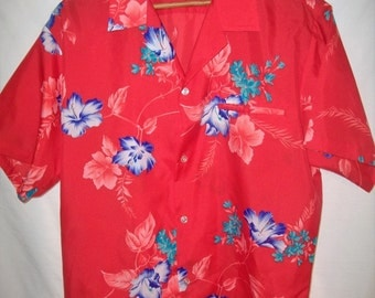 Vintage 70's Shoreline Hawaiian Tropical Shirt Sz L