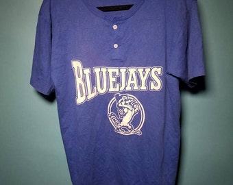 Vintage BlueJays Button Tee L