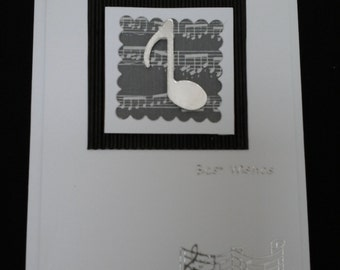 Musical note Best Wishes card, monochrome, black and white, silver stars
