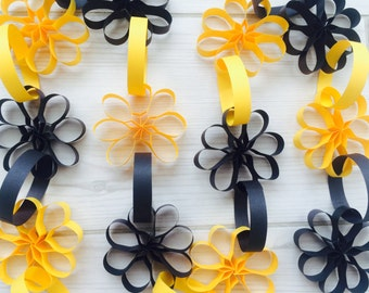 Paper Garland, Black and Yellow garlands, Bee, Wedding Photo Backdrop, Photo background,