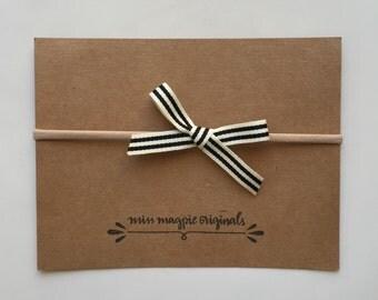 Black & Cream ribbon bow mini