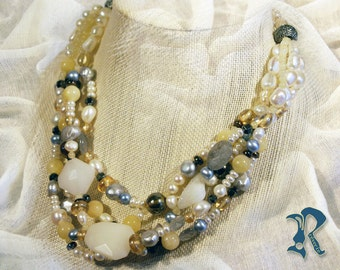 Grey Fresh Water Pearl and Natural Stone Necklace