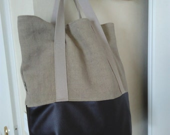 Linen and leather tones tote bag beige Brown and khaki