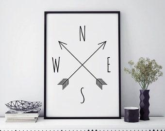 Top seller, compass wall art prints, minimalist poster, minimalist art, compass print, best selling art, home decor, scandinavian modern art