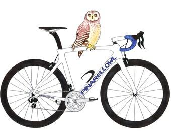 Pinarellowl - pinarello + owl - card OR mounted print - inspired by cycling / bikes / the Tour de France / owls / wildlife