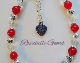 Red Jade Bracelet, Gemstone Bracelet, Jade Bracelet, Gemstone, Jade, Bracelet, Red Bracelet, Red, Beaded Bracelet, Red Jade, Gift For Her