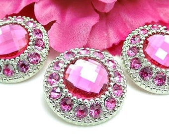 HOT PINK Rhinestone Buttons Silver Plastic Acrylic Rhinestone Buttons DIY Wedding Garment Coat Fashion 25mm 3367 24R