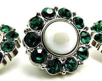 SHINY WHITE Pearl Buttons W/ Emerald Green Surrounding Rhinestone Acrylic Rhinestones Coat Buttons Button Bouquet Diy Craft 25mm 2997 38P 6R