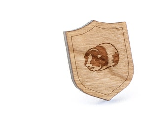 Guinea Pig Lapel Pin, Wooden Pin, Wooden Lapel, Gift For Him or Her, Wedding Gifts, Groomsman Gifts, and Personalized
