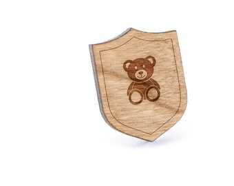 Teddybear Lapel Pin, Wooden Pin, Wooden Lapel, Gift For Him or Her, Wedding Gifts, Groomsman Gifts, and Personalized