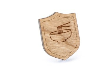 Noodle Bowl Lapel Pin, Wooden Pin, Wooden Lapel, Gift For Him or Her, Wedding Gifts, Groomsman Gifts, and Personalized