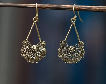 Flower Blossom Dangle Earrings