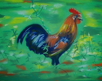 Matted Rooster Painting