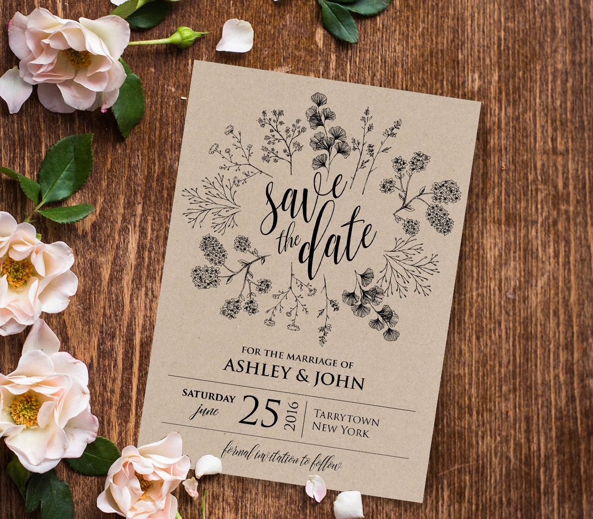 Rustic save the date template instant download printable for Electronic save the date templates