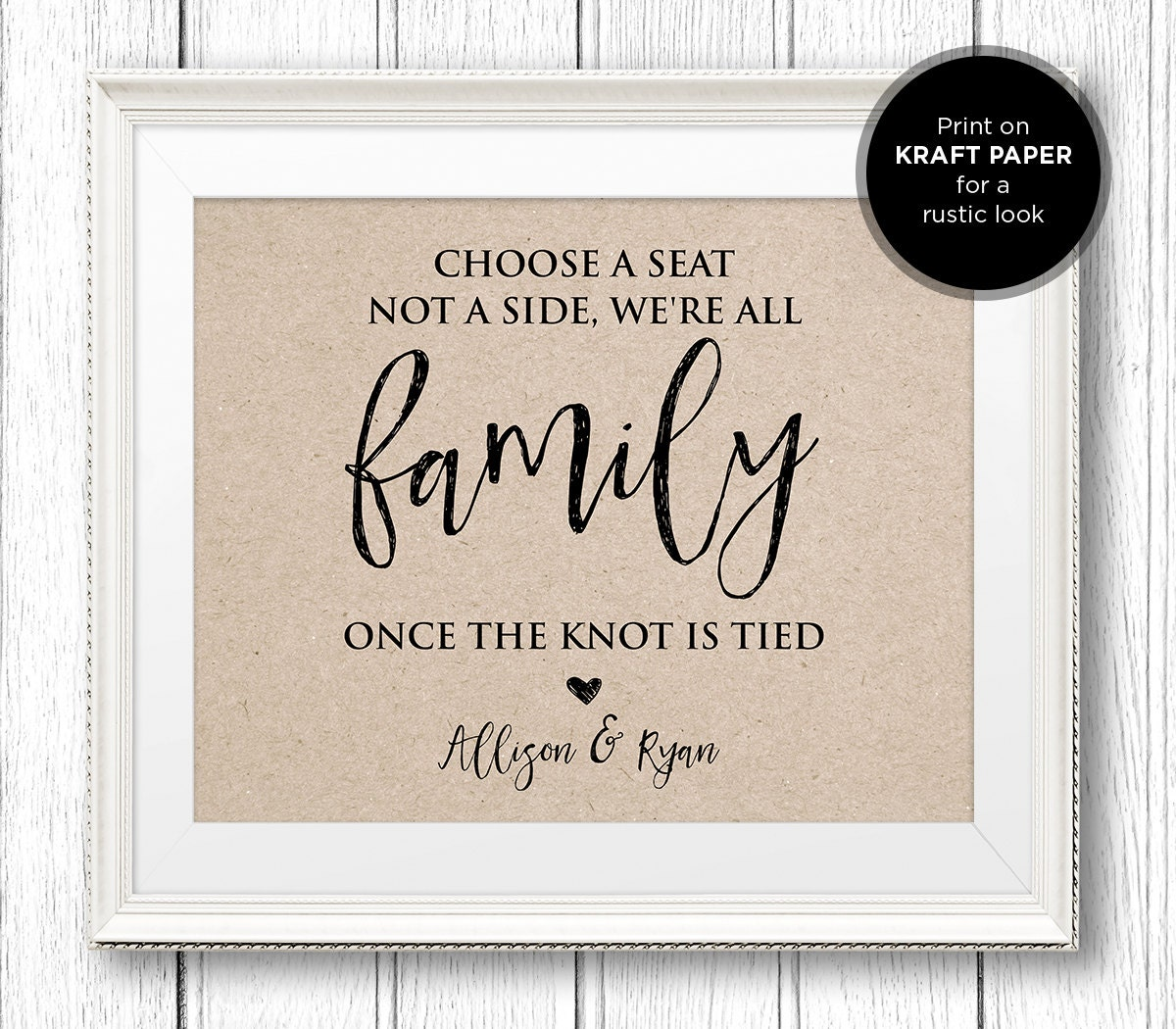 Choose A Seat Not A Side Wedding Sign Printable Sign Rustic Wedding Ceremony Instant Download