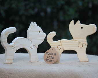 Felix & Bella - Handmade Wooden Toy Cat and Dog Puzzle