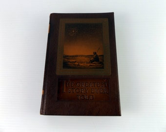 The Greatest Story Ever Told Leather Covered Book Vintage 1950 By Fulton Oursler