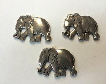 Stamping - Medium Silver Elephant - Set of 3