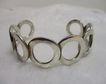 Solid Sterling Silver Mexico Flat Circle Cuff, stamped 925