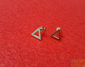 Rose Gold Earrings, Small Triangle Stud Earrings, Triangle Earrings, Minimalist Earrings, Geometric Studs, Gift