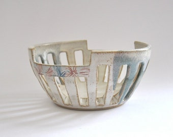 Ceramic bowl - carved with botanical accents - handmade pottery