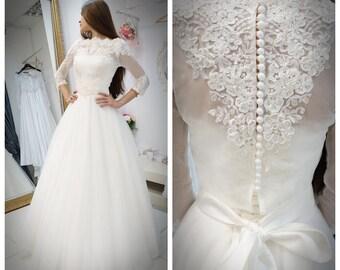 Viola wedding dress,  a style  wedding dress, wedding dress with bolero, lace  wedding dress, tulle skirt wedding dress