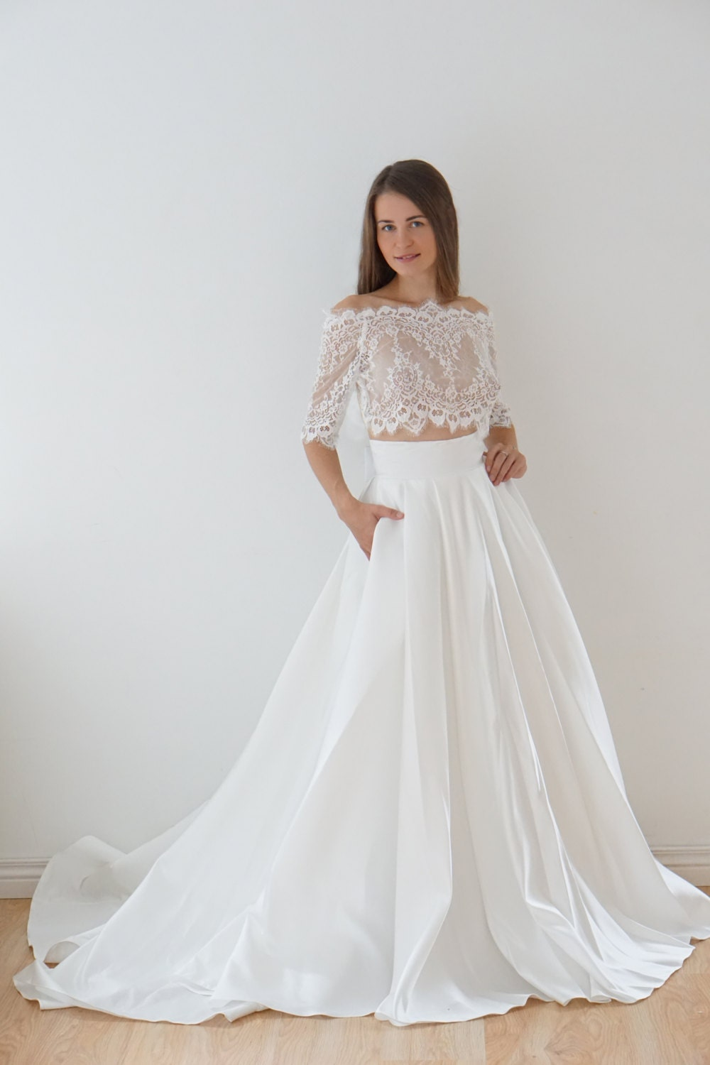 Crop top wedding dress satin wedding dress lace top lace for Wedding dress skirt and top