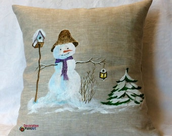 Snowman Pillow/Winter/Christmas/Home Décor/Indoor/Pillow Cover/Snowman/Hand-painted/rustic/Holiday Pillows/Snowman and Tophat