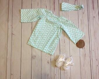 Newborn Summer Dress and headband | Infant Summer Dress | Newborn Dress | Chevron Dress | Cute Baby Girl Dress