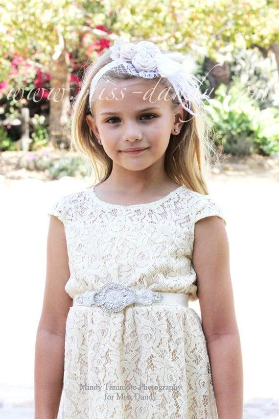 Zoé Dress- Lace Flower Girl dress Set - Flower Girl Dress Set -Champagne flower girl dress & Sash Belt-Rustic Girls Dress- Junior Bridesmaid