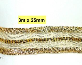 3m x 25mm wire edge Ribbon, decorative ribbon gold (3003)