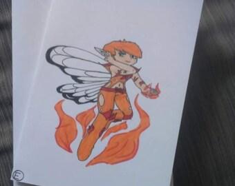Blazing Fairy greetings card