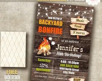 Bonfire invitation, Bonfire party, Backyard Bonfire, Printable Self Editable PDF File A126