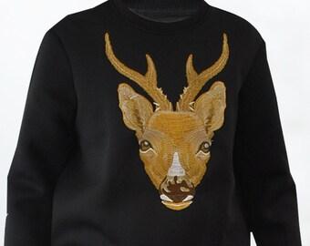 Deer head front Embroidery Sweatshirt