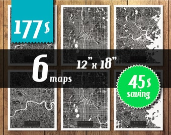 SALE! 6 maps 12''x18'' size - 45 dollars saving! Great deal -SAVE 45 dollars - get 6 maps with discount!