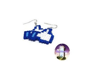 Earrings Facebook Like Button Social Network [Pixel Art Hama Beads]