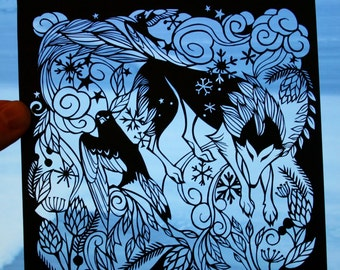 Original Paper Cutting - Wolf and Bird