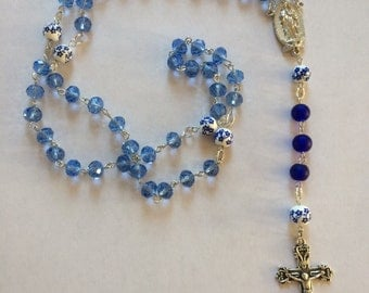Blue Floral Rosary