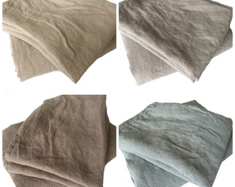"Linen ALLROUNDER bed sheet cloth tube 140 x 220 cm (55 ""x 86"") 100% linen Stonewashed, petrol/taupe/blue/grey/dark pink/iced coffee"