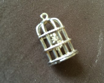 Vintage Sterling Silver Chim Charm of Birds in Cage