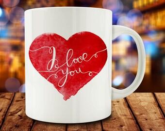 20% OFF SALE - I Love You mug, love mug (M752)