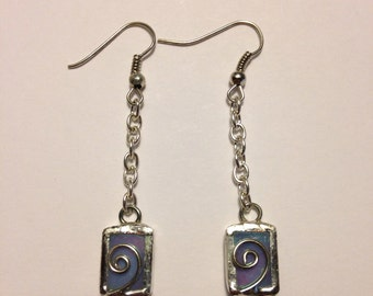 Pearly blue stained glass earrings