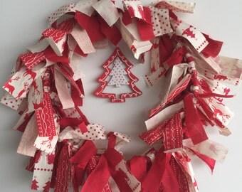 Christmas Shabby Chic Rag Wreath
