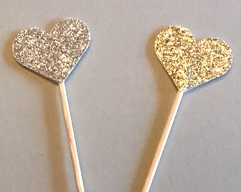 12 Heart Cupcake Toppers Glitter Cupcake Toppers Birthday Cupcake Toppers Shower Cupcake Toppers Holiday Cupcake Toppers Silver Gold