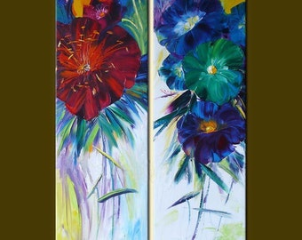 Original Abstract Floral Oil Painting