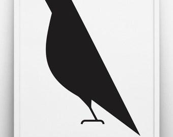 Raven print , Black & white art, Romantic poster, Scandinavian, Monochrome,