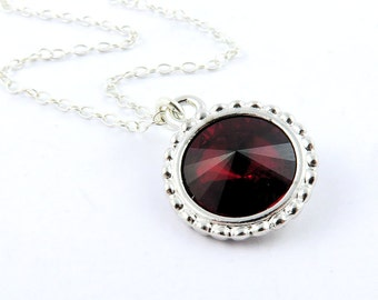 Siam Necklace, Ruby Necklace, July Birthstone Necklace, Ruby Crystal Necklace, Red Necklace, Ruby Jewelry, Swarovski Crystal Birthstones