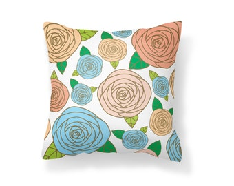 Throw Pillow Flower, Decroative Pillow, Rose Pillow, white pillow, gold pillow, pink pillow, blue pillow