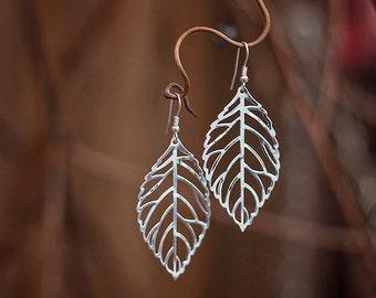 Silver Leaf Earrings, Silver Earrings, Leaf Earrings, Statement Earrings, Dangle Earrings, Leaf Cut Out Earrings