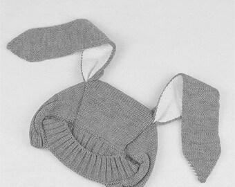Kids bunny ear knit hat